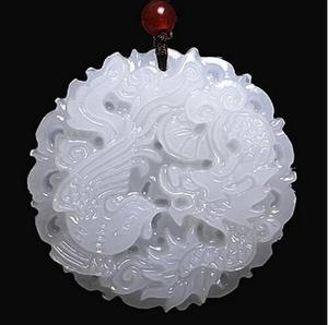 Красивая подвеска из натурального нефрита ручной работы с резным драконом и Фениксом + ожерелье, модные Резные Подвески, украшения