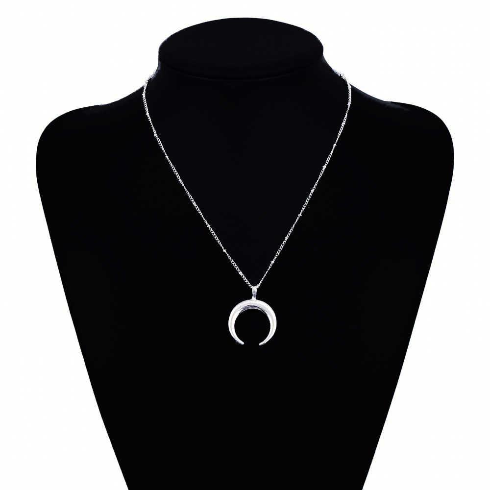 IPARAM déclaration collier en corne d'or, maxi Long croissant de lune collier, Double corne collier pour les femmes bijoux à breloques