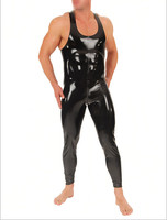 Latex Catsuit Men T shirt Body Suits Rubber Latex Sleeveless Club Wear Bodysuit
