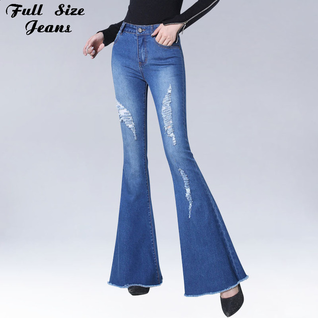 Flare Ripped Jeans con agujeros Slim Stretch pantalones con pierna ...