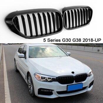 Cho XE BMW Series 5 G30 G38 M5 Trước Thận Ốp Lưng Đua Nướng 2 Vây ABS Bóng Đen M Dạng Lưới Tản Nhiệt Thay Thế 520i 530i 540i