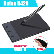 """Новый HUION H420 420 Графика графический Планшет 4×2.23 """"USB Цифровая Ручка Для ПК Компьютер + противообрастающих Голве как Подарок P0018791"""