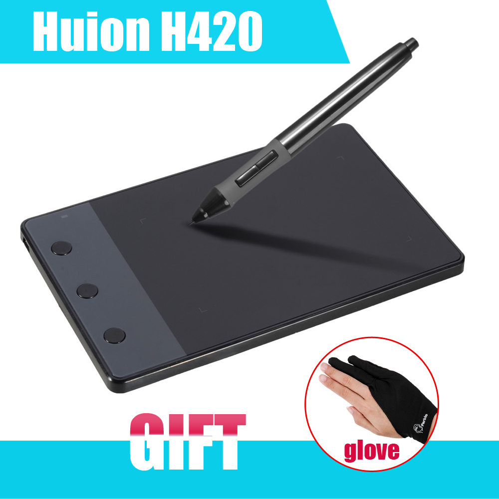 "New HUION H420 420 Graphics Drawing Tablet 4 x 2.23"" USB Digital Pen For PC Computer + Anti-fouling Golve as Gift P0018791"