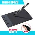 """Nova HUION H420 420 Gráficos de Desenho Tablet de 4x2.23 """"USB Caneta Digital Para PC Computador + Anti-incrustação P0018791 Golve como Presente"""
