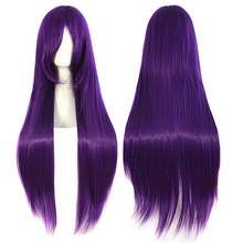 Women's Purple Wigs With Bangs Long Straight Hair Fluffy Hair  HB88