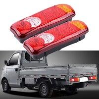 46 LED 2PCs Truck Trailer Lorry Caravan Stop Rear Tail Indicator Light Lamp 12V Waterproof Rectangle