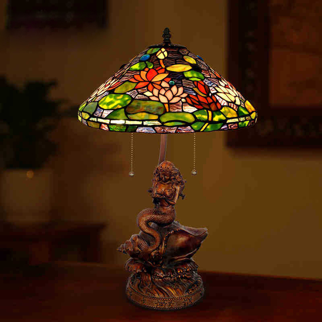 Lighting 17 Inch Tiffany Lamp Color Glass Lampshade Mermaid Cafe Living  Room Decorative Lamp Base