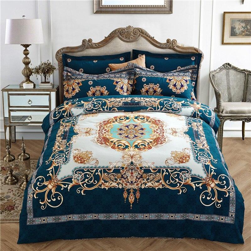 100% Cotton Boho Bedding set Queen King size flowers printed bedsheet pillowcase duvet cover 4pcs Bedlinen Sets