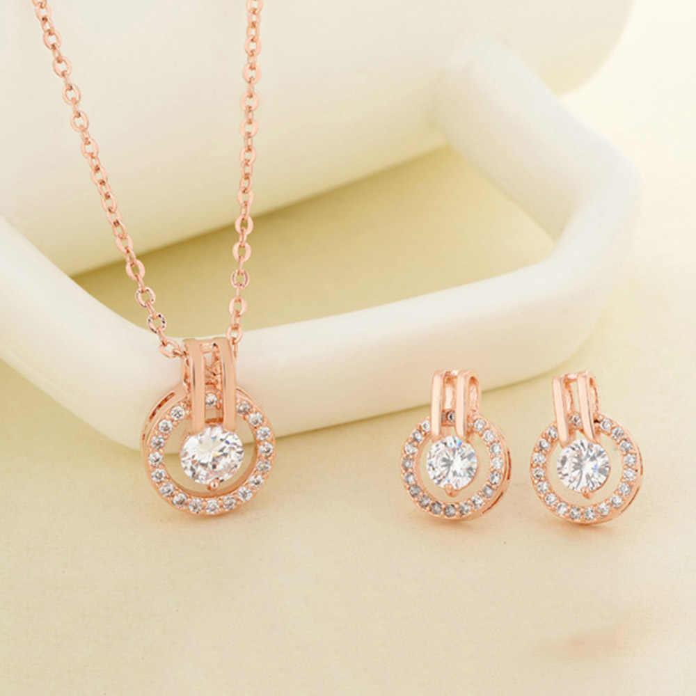 בינג Tu תכשיטים סט זהב כסף צבע Cz קריסטל שרשרת שרשרת עגילי סטי נשים הכלה תכשיטי מתנה