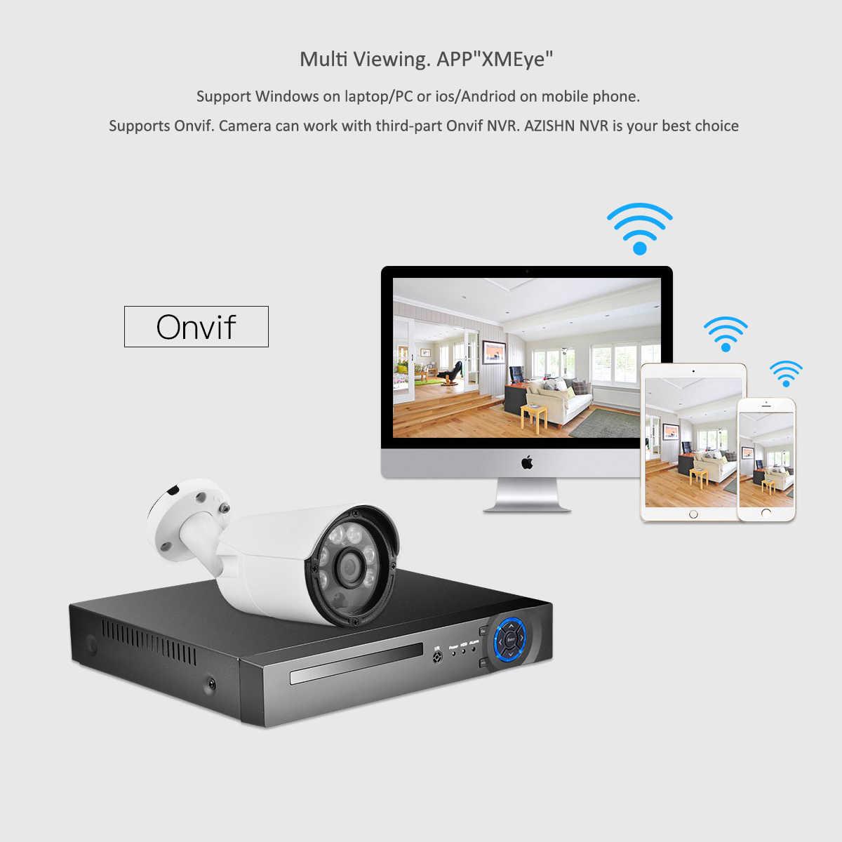 AZISHN H.265 IP Камера 5MP/3MP/2MP металла IP66 водонепроницаемый уличный для видеонаблюдения Камера Ночное Видение безопасности видеонаблюдения ONVIF P2P
