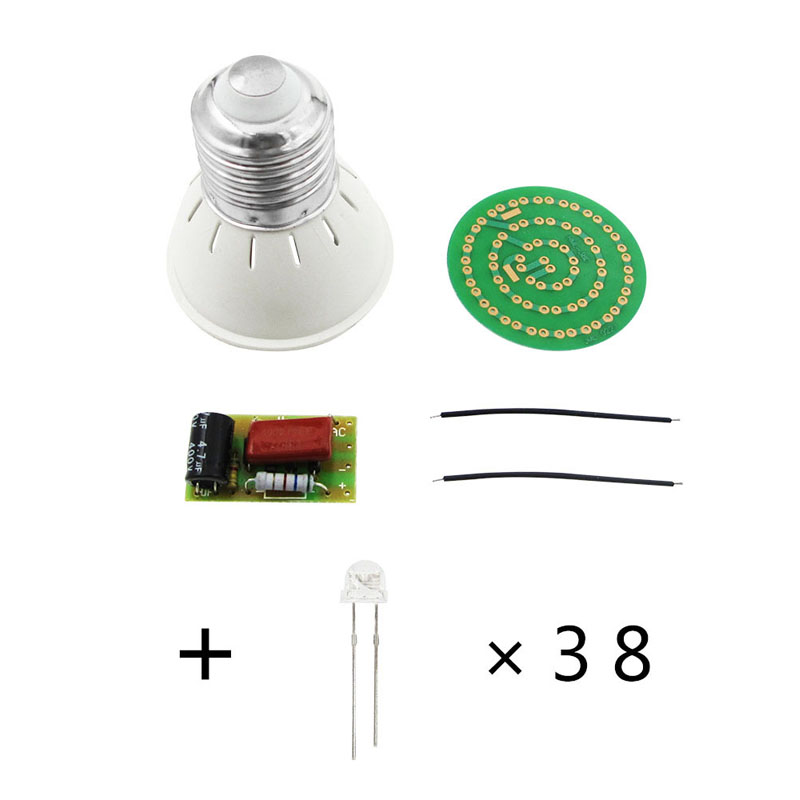 New Energy-Saving 38 LEDs Lamps DIY Kits Electronic Suite 1 Set