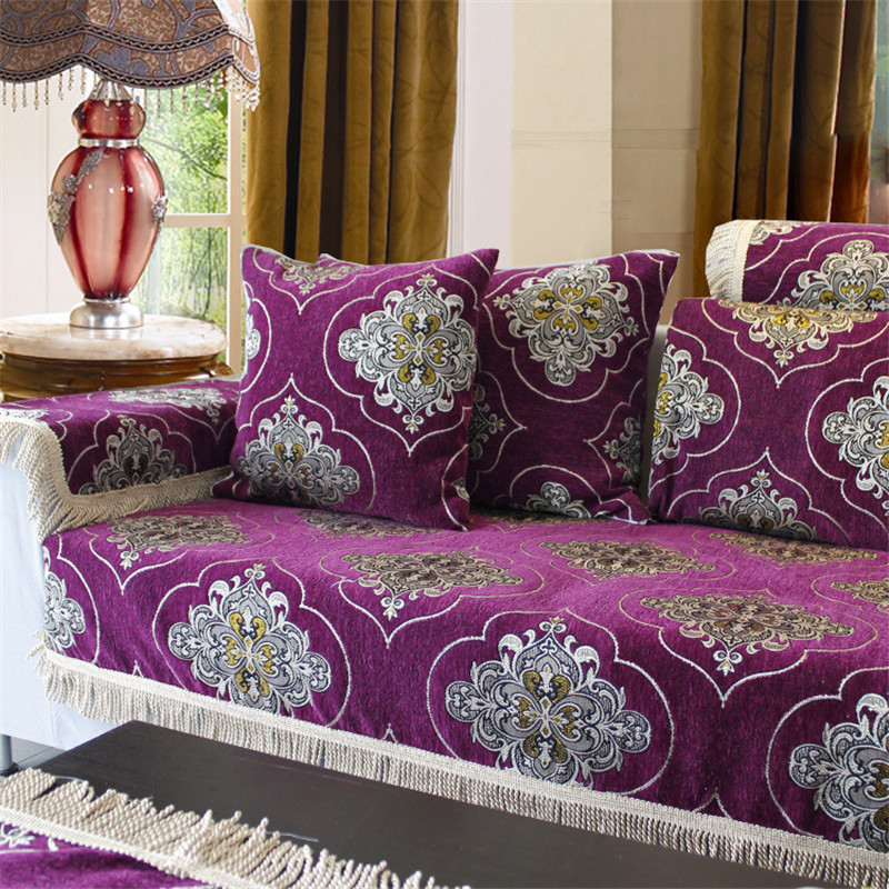 Luxury Chenille Jacquard Flocked Corner Sofa Covers Home Textile Fabric Linens Case Purple Seat Cushion Antiskid Towel In Cover From