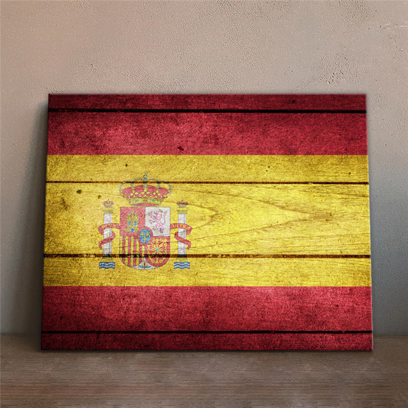 Home Decor Wall Decorative Painting Spain National Flag Fake Wood Background Built In Frame Hanging Canvas Printing