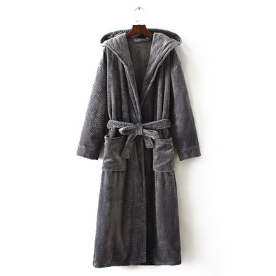 Winter Thickening Warm Flannel Hooded Bathrobe Men Dressing Gown Coral Fleece Bath Robe Male Sleepwear Nightgown Kimono Homme