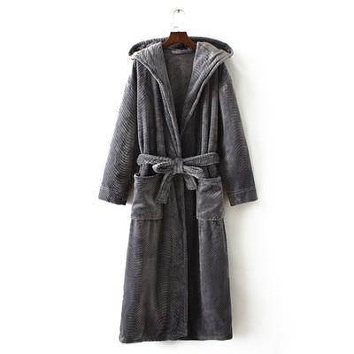 Winter Thickening Warm Flannel Hooded Bathrobe Men Dressing Gown Coral Fleece Bath Robe Male Sleepwear Nightgown Kimono Homme