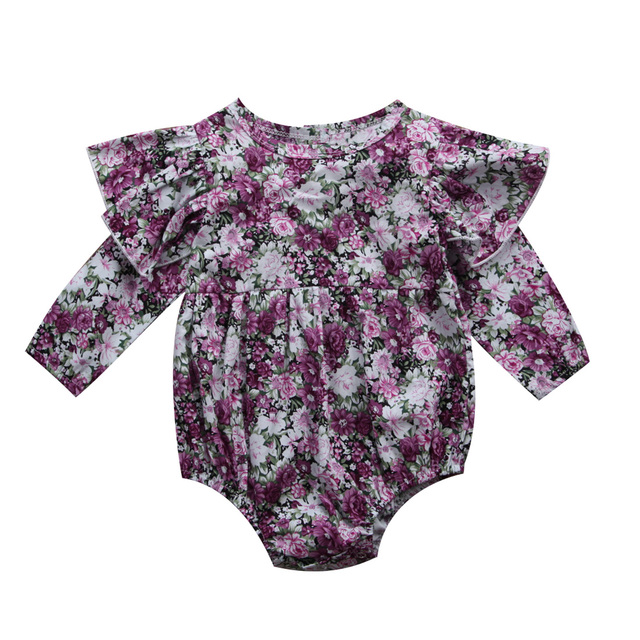 201df076e25 Newborn Baby Girls Bodysuit Clothing Infant Kids Clothes Purple Floral Bodysuit  Girl Long Sleeve Autumn Cute Outfits 0-24M