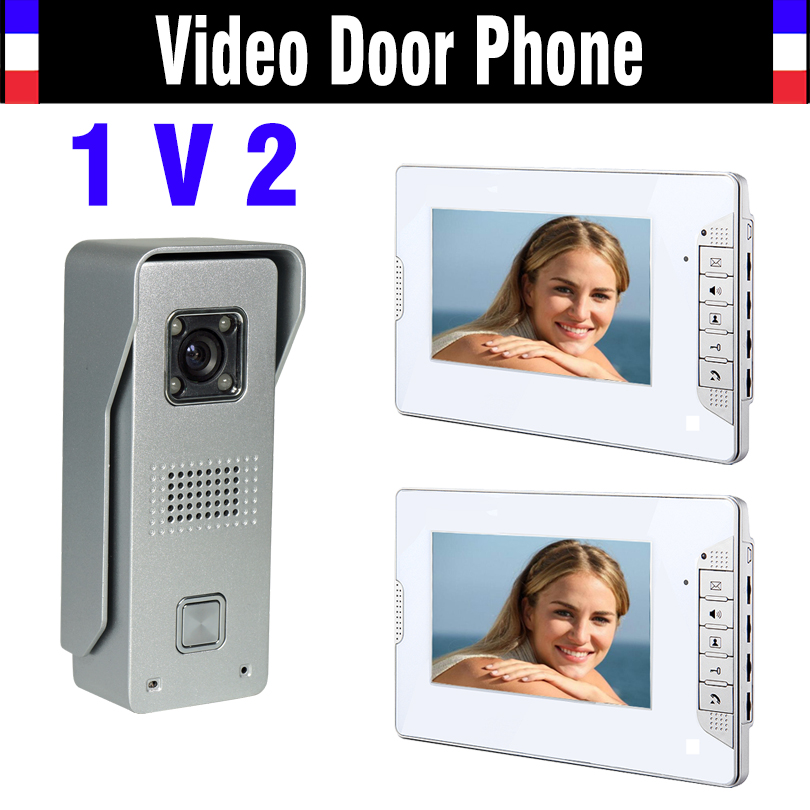 7 Screen Video Doorbell Intercom Video Door Phone System Aluminum alloy Waterproof Night Vision Camera 2 Monitor for villa home