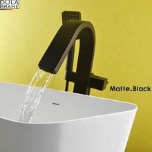 DULABRAHE черный пол ванной комнаты стенд смеситель Одной ручкой смеситель роскошный водопад смеситель для ванны душ ванная комната ручной душ