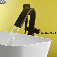 DULABRAHE Black Bathtub Floor Stand Faucet Mixer Single Handle Mixer Tap Luxury Waterfall Bath Mixer Shower Bathroom Hand Shower