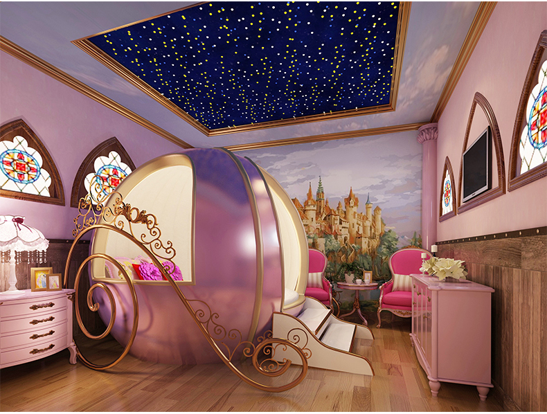Pink Colour Children Furniture Creative Girl Bed Bedroom Real Wood Round Bed ...