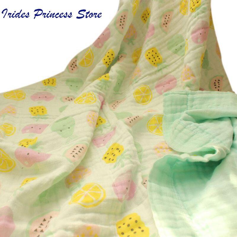 Cotton Muslin Baby Blankets Swaddles Newborn Wrap Gauze Crown Children Blankets Infant Bath Towel Size 120x120cm