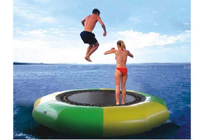 water trampoline 2 M diameter 0.6mm PVC inflatable trampoline or inflatable bouncer outdoor game  summer water toy water park environmentally friendly pvc inflatable shell water floating row of a variety of swimming pearl shell swimming ring
