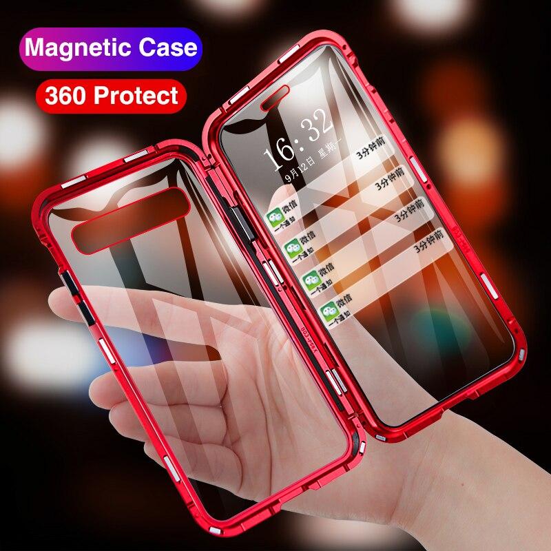 Caso Telefone Flip magnético Para Samsung Galaxy S10 Plus 360 Disco Back Covers de Vidro Temperado Para Samsung Nota 10 S caso ímã 10 3D