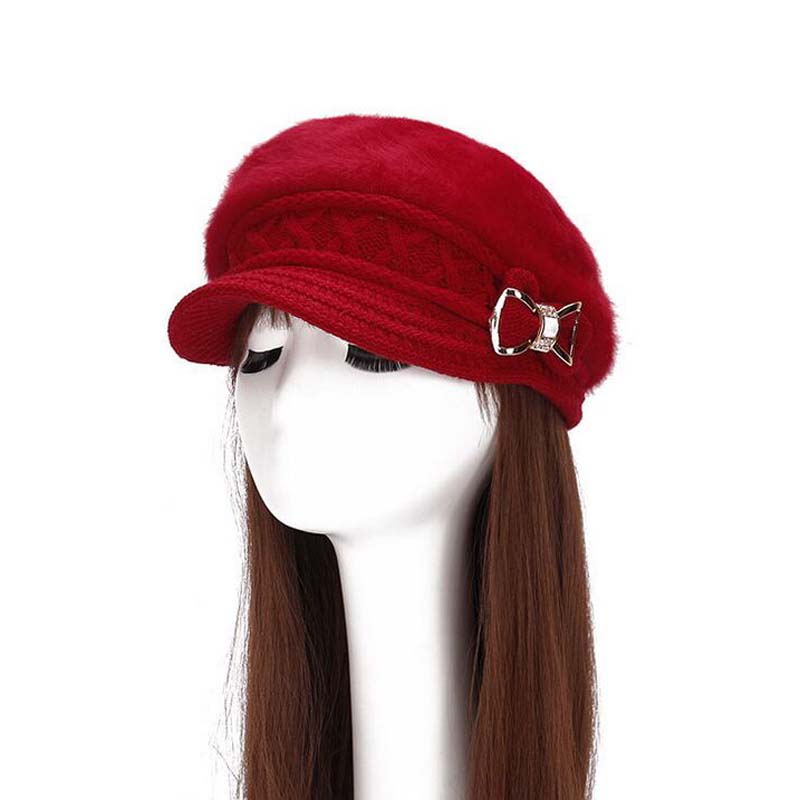1 Pcs Korean Fashion Crystal Bow Knitted Cap Autumn Winter Thicken Skullies Beanies Brand Hats For Women 7 Colors 8513 1 pcs autumn winter hot sell knitted cap brand skullies beanies hats for men caps 4 colors 8514