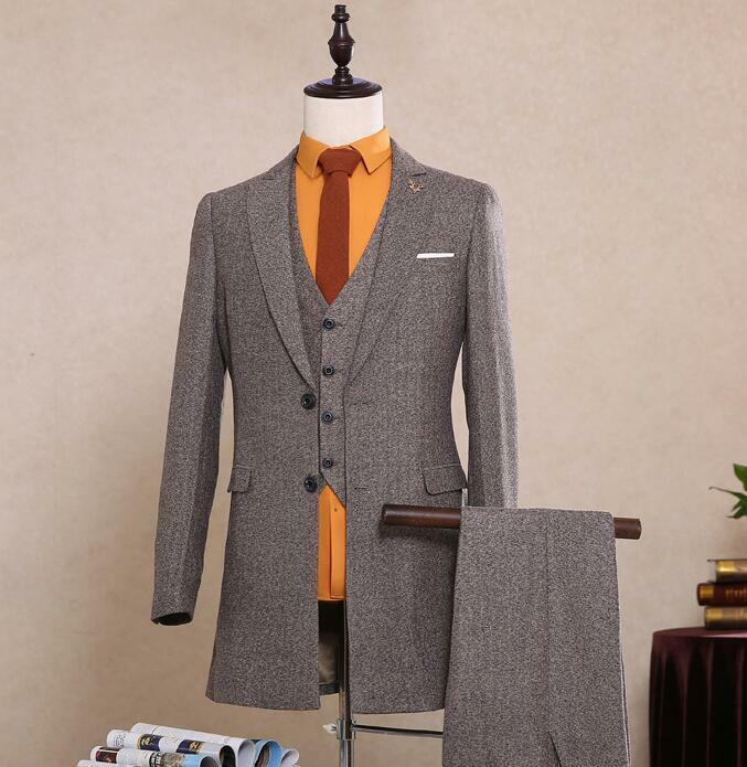 Gray Herringbone Tweed Men's Vintage Suit 3 Pieces 2 Button Wool In Stock 2018