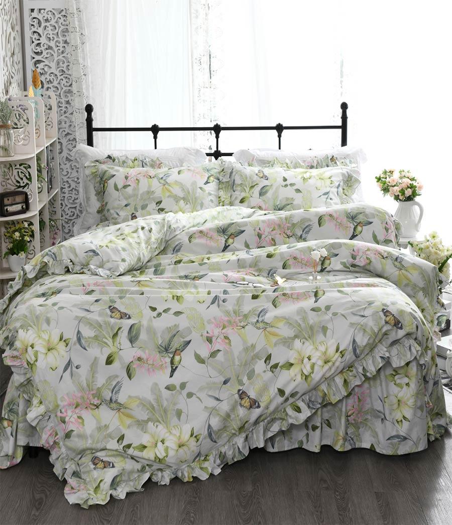 Ensemble de literie pastorale vert floral oiseau, coton double reine roi, simple double maison textile taie d'oreiller housse de couette lit robe