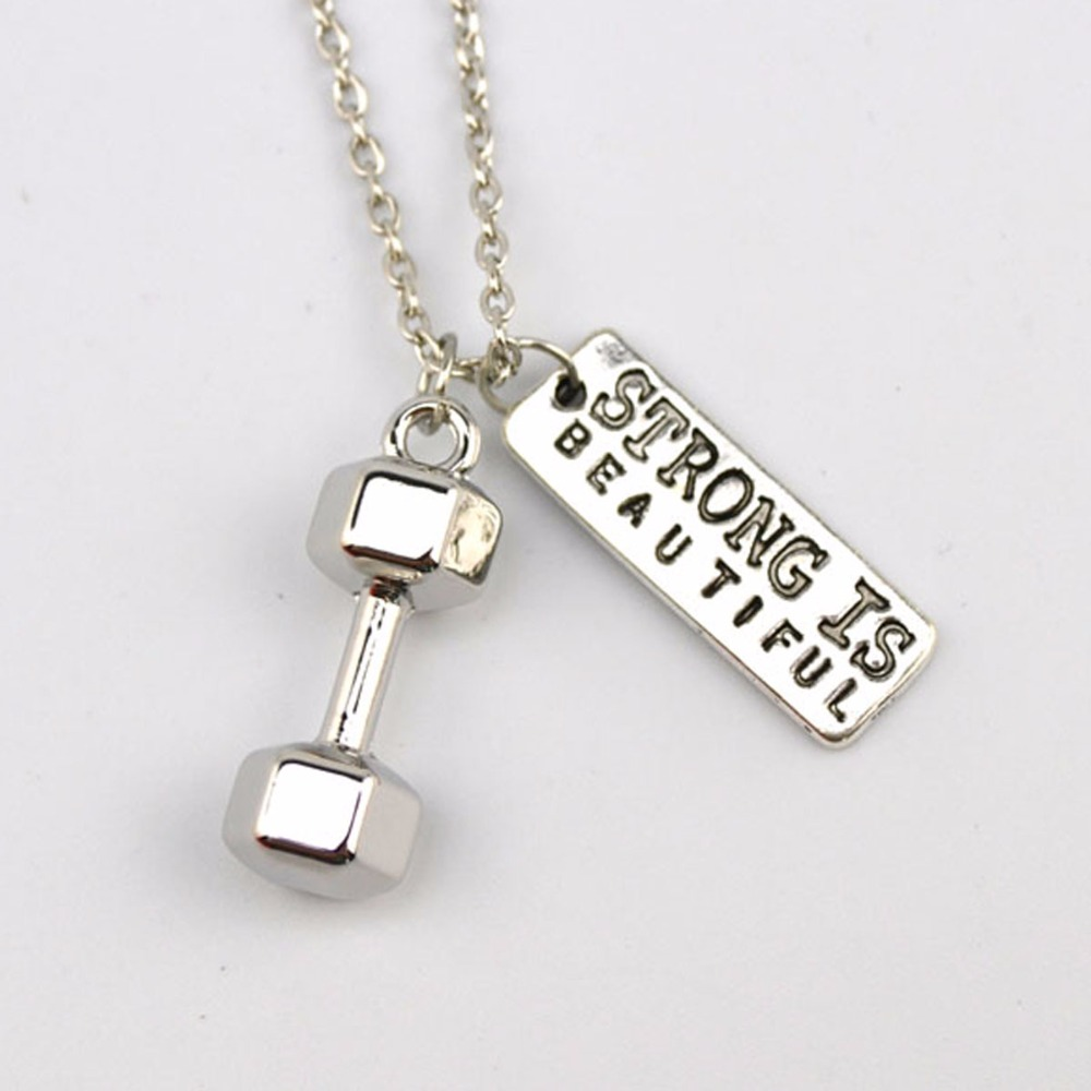 strengths weaknesses promotion shop for promotional strengths barbell dumbbell iwill i can strong is beautiful i choose strength weakness is a choice fitness necklace drop shipping