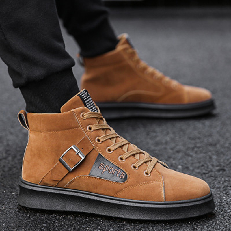 men sneakers 2018 new high help male high quality shoes sanding leather casual men shoes retro sneakers fashion Leisure Lacing