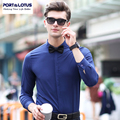 PORT&LOTUS Brand Mens Shirts Solid Thin Long Sleeve Cotton Men Casual Shirt Camisa Masculina Men's Clothing YT029 87806