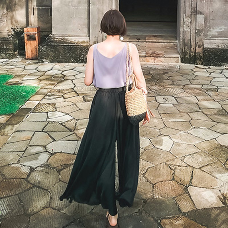 Image 5 - CHICEVER Autumn High Elastic Waist Trousers For Women Wide Leg Pants Chiffon Loose Oversize Wide Leg Pant For Women Fashion Tide-in Pants & Capris from Women's Clothing