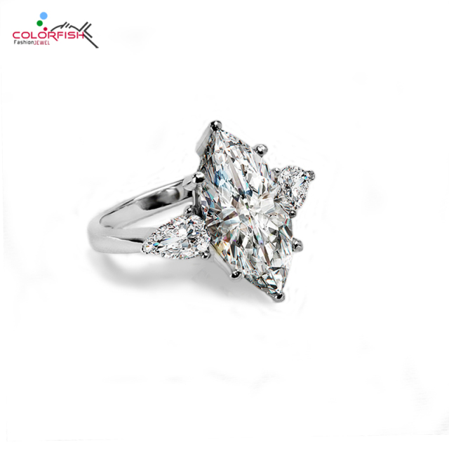 Very COLORFISH 5.5 Ct Three Stone Engagement Rings For Women Brilliant  PZ48