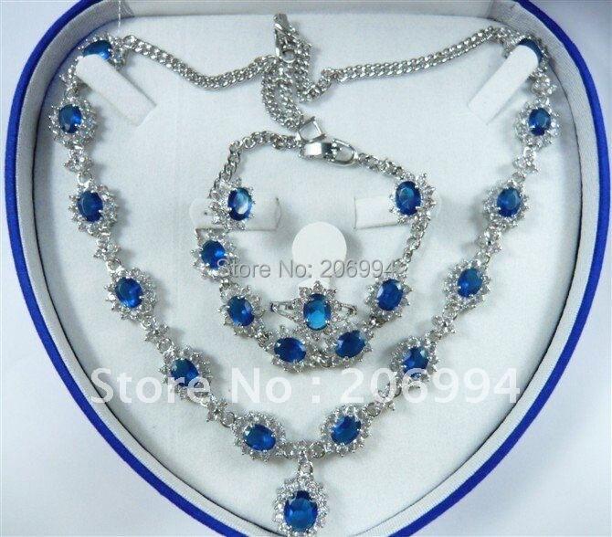 Ювелирные изделия голубой циркон Цепочки и ожерелья Браслет Кольцо Кулон Серьги#142