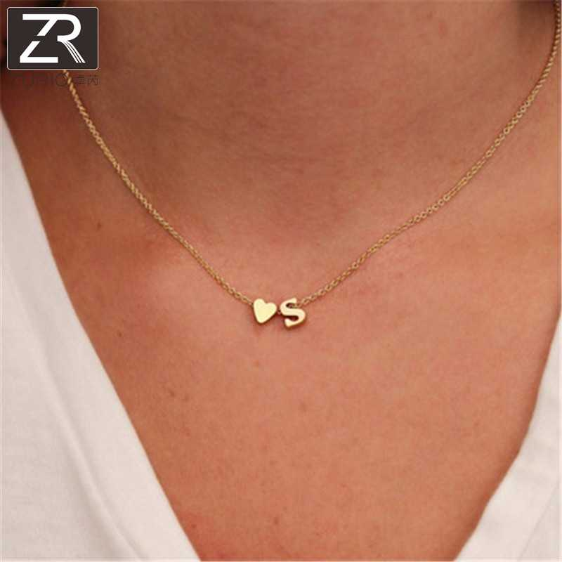 26 Letters Fashion Jewelry for Women Tiny Dainty Heart Initial Necklace Personalized Letter Necklace Name Accessories Girlfriend