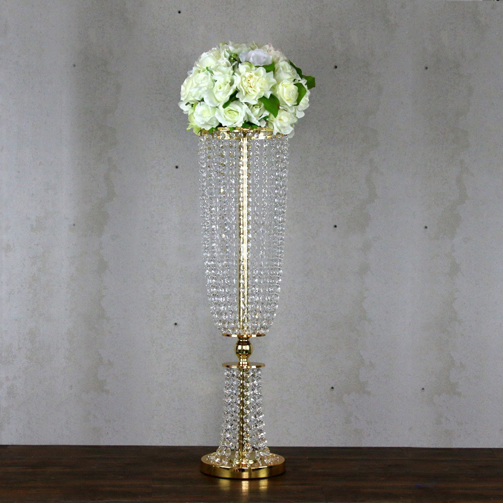 Wh wholesale vintage lead crystal table lamp buy cheap - 100cm Tall Crystal Table Centerpiece Gold Wedding Chandelier Wedding Supply 10pcs Lot