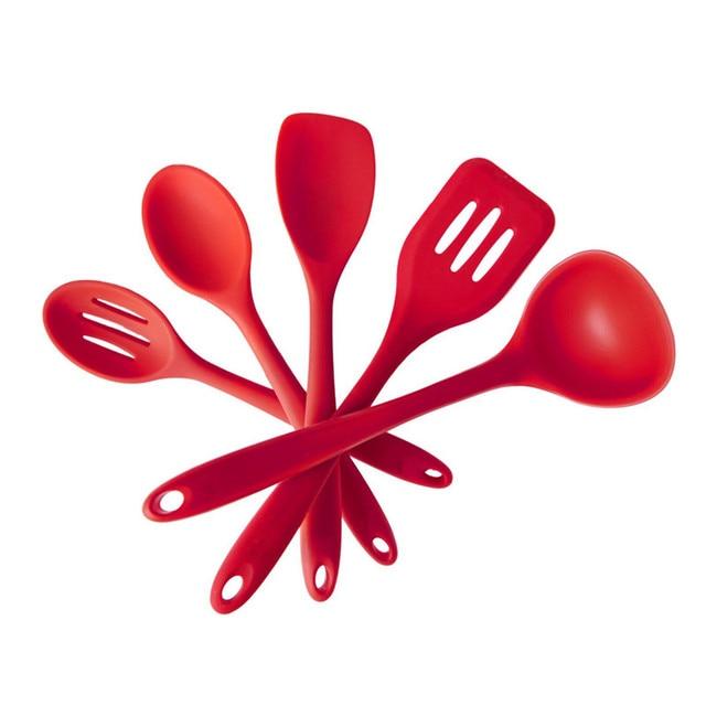 Premium Silicone Kitchen Utensils Set (5 Piece) in Hygienic Solid ...
