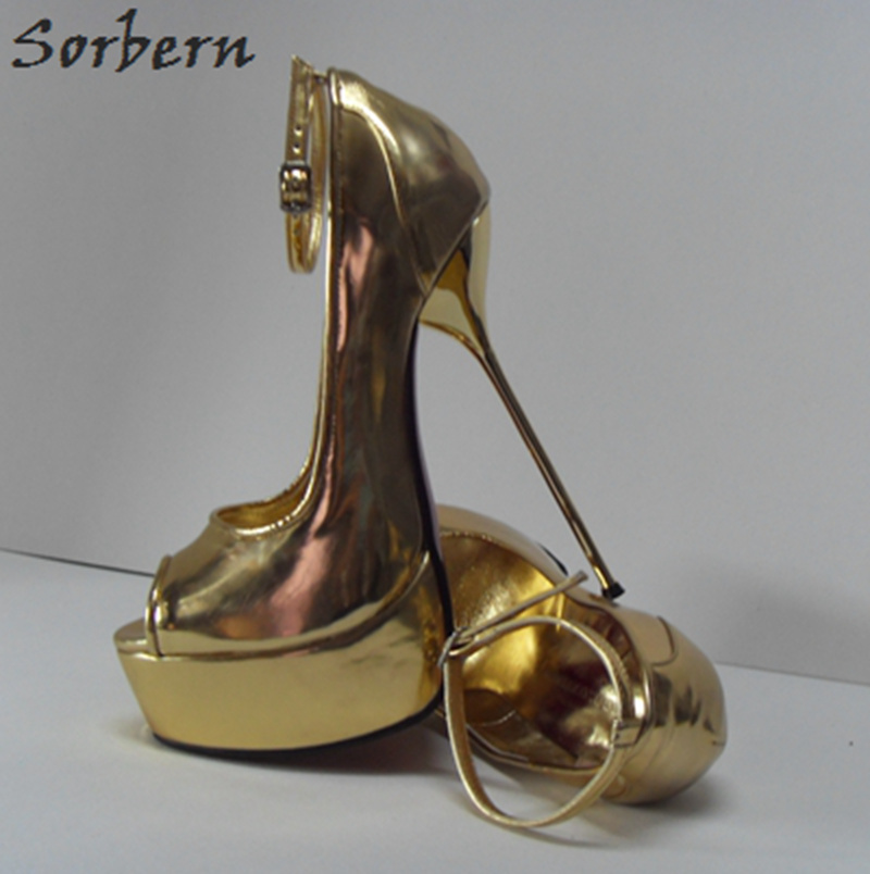 Sorbern 16Cm Gold Heels Ankle Straps Peep Toe Platform Shoes Women Size 32-52 Party Shoes For Women Heels Ladies Heel Shoes lasyarrow brand shoes women pumps 16cm high heels peep toe platform shoes large size 30 48 ladies gladiator party shoes rm317