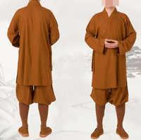 3color unisex linen&cotton Buddhist lay meditation uniforms shaolin monks martial arts clothing robe lohan arhat suits