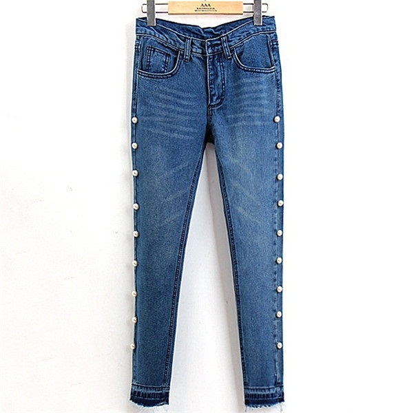 Aliexpress.com : Buy Unique Pearls Denim Jeans Women Embroidered ...