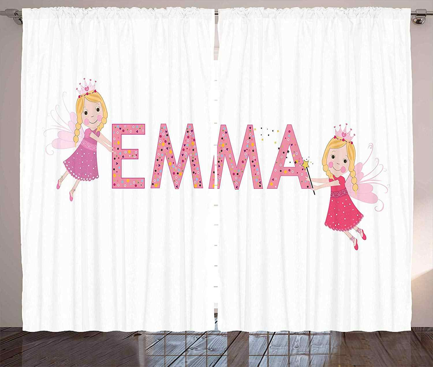 Emma Curtains Cute Fairy Princesses Holding a Popular Widespread Girl Name with Polka Dots Pattern Living Room Bedroom Window
