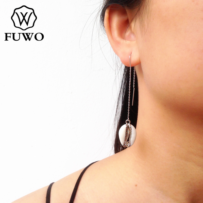 FUWO Natural Cowrie Shell Threader Earrings With 24K Gold Filled Edge Minimalist Design Carved Shell Earring
