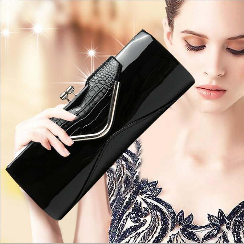 2018 Luxury Women Bag Alligator PU Patent Leather Shiny Handbag Fashion Chain Shoulder Bag Crossbody Bag Handbag Party Clutch