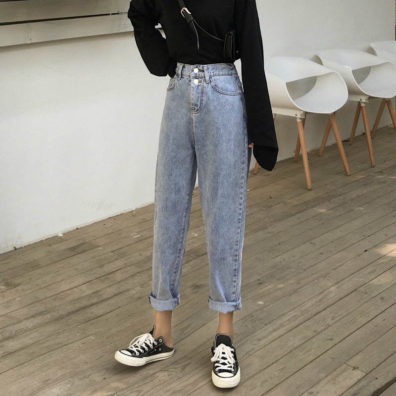 Women Summer 2019 Autumn Straight Jeans Casual High Waist Denim Pants Boyfriends Jeans Femme Trousers Vintage Jeans in Jeans from Women 39 s Clothing