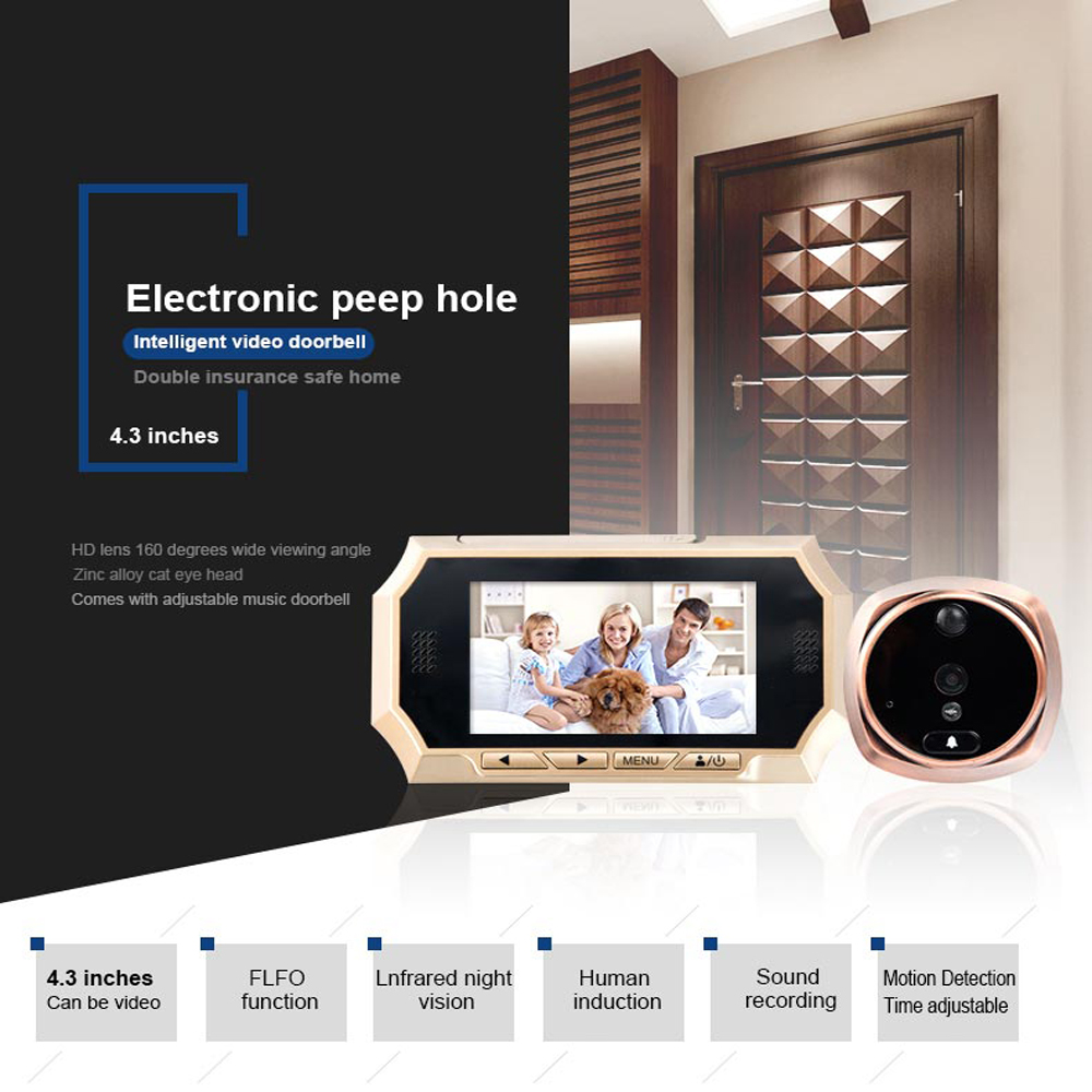 """4.3"""" Peephole Doorbell 1.3MP HD Night version Camera House Visitor talk back Intercom system Video door phone wide angle viewing