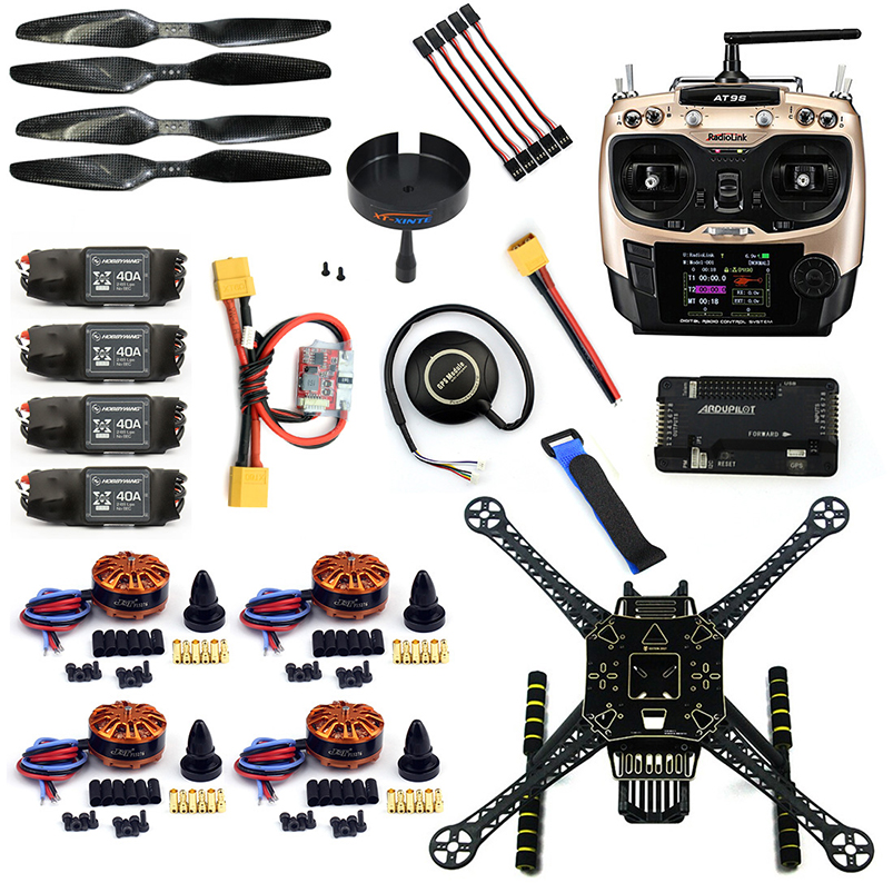 DIY 4 Axle RC FPV Drone S600 Frame Kit with APM 2.8 Flight Control No Comapss AT9S Transmitter 700KV Motor 40A ESC GPS F19457-G diy set pix4 flight control zd850 frame kit m8n gps remote control radio telemetry esc motor props rc 6 axle drone f19833 d