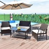 Giantex 4 PC Garden Furniture Set Outdoor Patio Sectional PE Wicker Rattan Deck Table Sofa Chairs