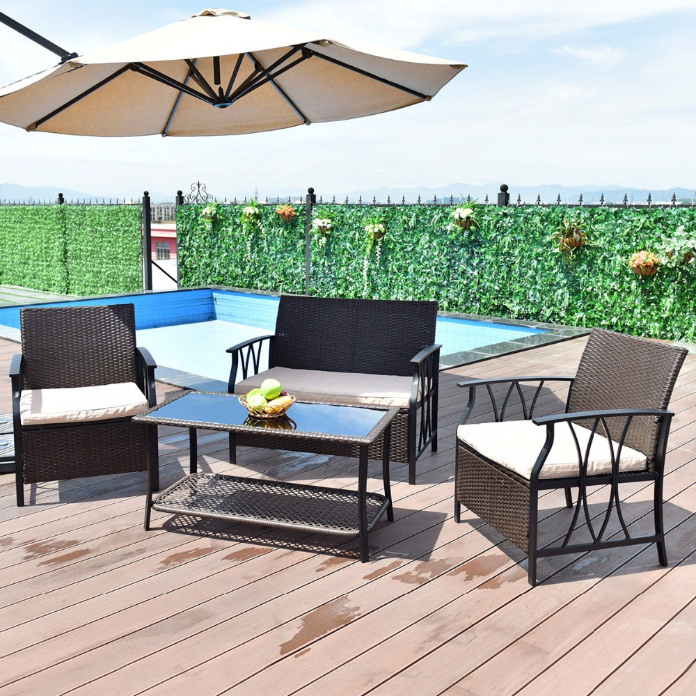 Giantex 4 PC Garden Furniture Set Outdoor Patio Sectional PE Wicker Rattan Deck Table Sofa Chairs Set with Cushions HW55431